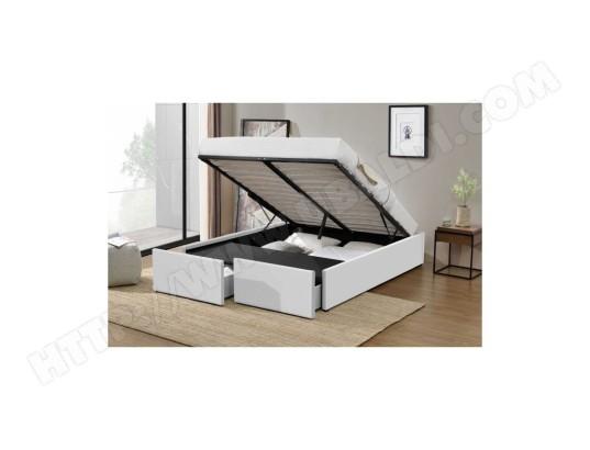 fournier decoration lagertha lit coffre p u blanc 160x200 cm 2 tiroirs ma 10ca186lage wnvqd