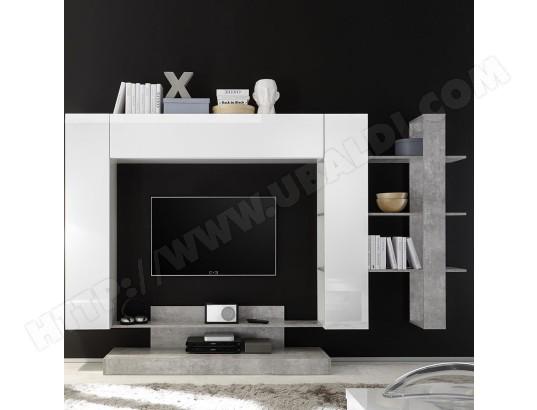 nouvomeuble ensemble tv mural design blanc laque et gris balbina ma 82ca487ense 10umb