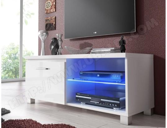 innovation meuble bas tv led salon sejour blanc mate et blanc laque dimensions 100 x 40 x 42 cm de profondeur ma 77ca487meub jmuu8