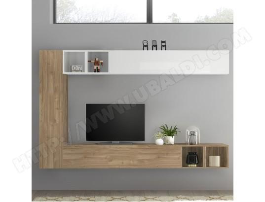 nouvomeuble meuble tv suspendu blanc laque et couleur chene lizzano ma 82ca487meub rnwlq