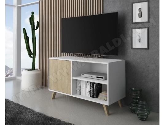 innovation meuble tv 100 avec porte a gauche salon modele wind couleur de structure blanche couleur de porte puccini mesure 92x40x57cm de