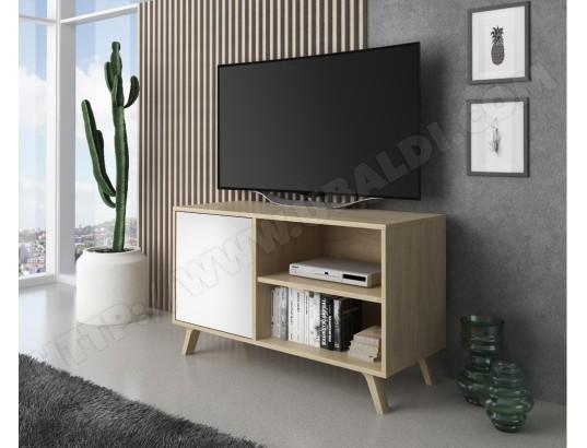 innovation meuble tv 100 avec porte a gauche salon modele wind structure couleur puccini porte couleur blanche mesure 92x40x57cm hauteur