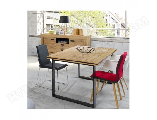 price factory table pour salle a manger malaga 180 cm plateau effet bois naturel et pieds en metal noir ma 76ca492tabl u68am