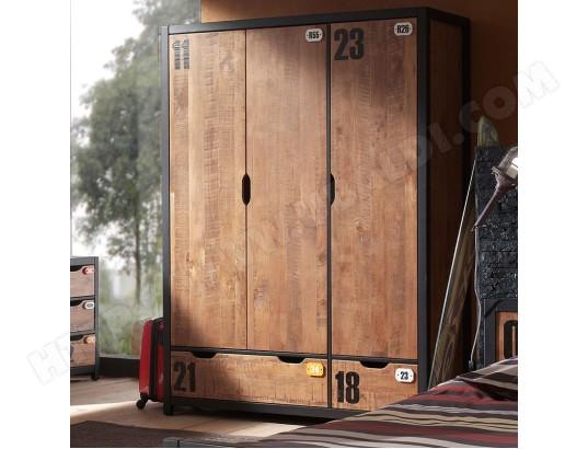 nouvomeuble armoire 150 cm en bois industrielle bronx ma 82ca456armo qb9rj