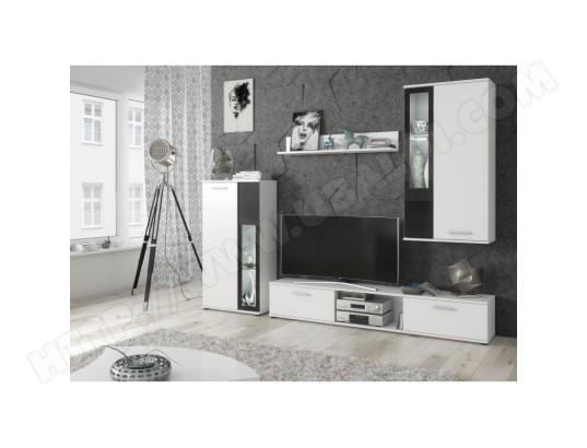 price factory meuble de salon meuble tv complet snow corps blanc mat facades blanches et noires led ma 76ca494meub iehsz
