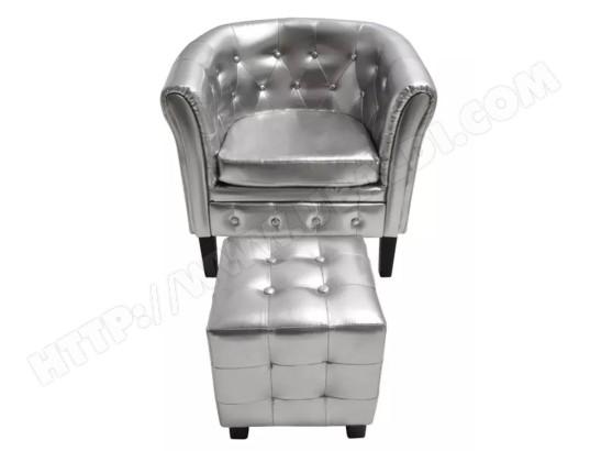 icaverne icaverne fauteuils club distingue fauteuil cabriolet avec repose pied cuir synthetique argente icav60709