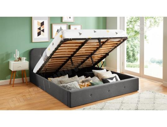 homifab lit coffre 180x200 cm gris anthracite avec tete de lit sommier a lattes collection kate ma 44ca195litc 6tn2d
