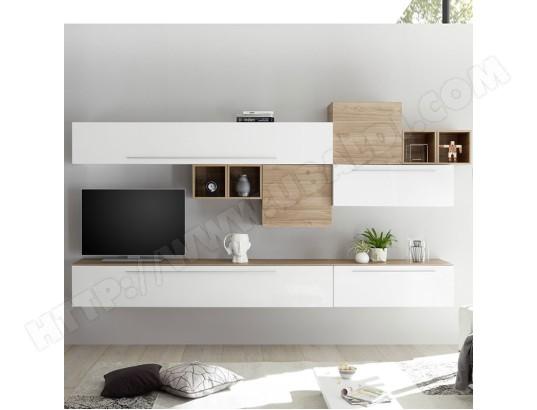 nouvomeuble ensemble tv mural blanc et couleur bois clair vasto ma 82ca487ense rxnto