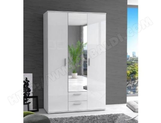 icaverne armoire de chambre armoire de chambre selkea style contemporain blanc laque brillant l 121 cm ma 15ca194armo 82gkx