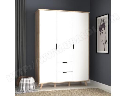 icaverne armoire de chambre armoire de chambre vankka scandinave decor chene et blanc mat pieds en bois massif l 140 cm ma 15ca194armo 9pzh4