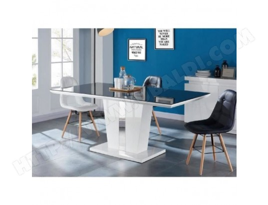icaverne table a manger seule trevise table a manger 8 personnes contemporain laque blanc brillant plateau de verre trempe noir l 180 x l 90