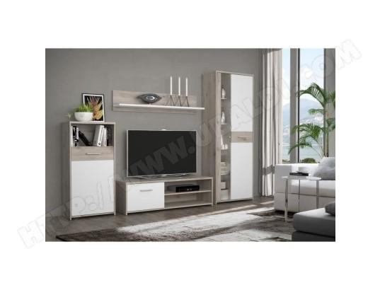 icaverne living meuble tv mural complet gulada ensemble meuble tele buffet table a manger contemporain blanc et decor chene
