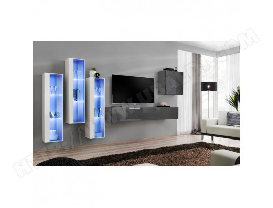 price factory ensemble meuble salon mural switch xiii design coloris gris brillant et blanc ma 76ca494ense hin1o