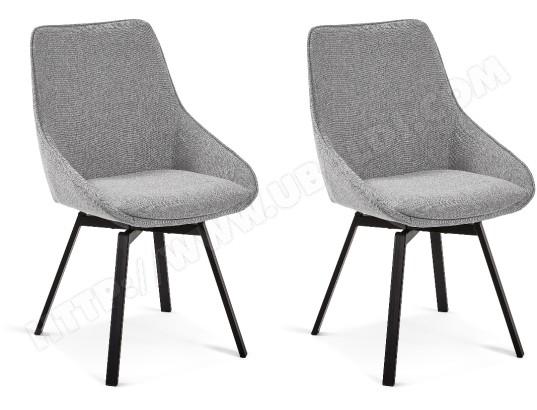lf chaise haston lot de 2 chaises gris clair