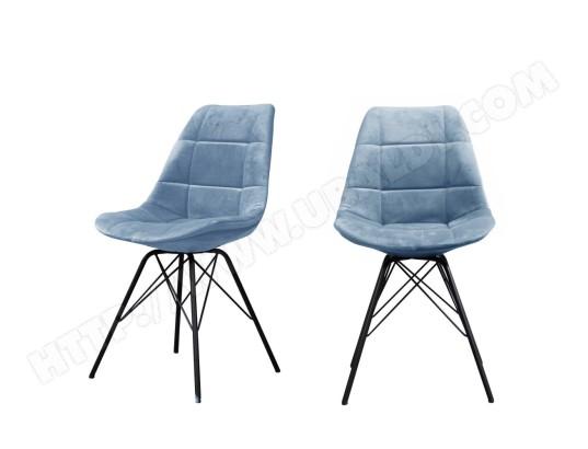 drawer meryl 2 chaises capitonnees en velours couleur bleu ma 72ca493mery tgzfi
