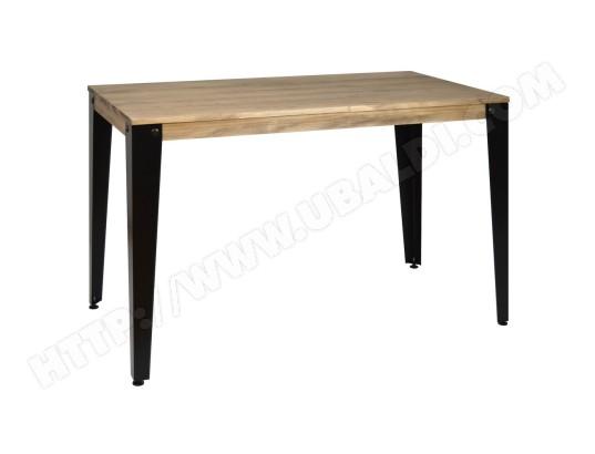 ds muebles table salle a manger lunds vintage industriel 90x180x75cm noir 787108