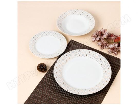 vente unique service vaisselle 18 pieces art deco patchouli porcelaine blanc et dore ma 82ca512serv 2zg7q