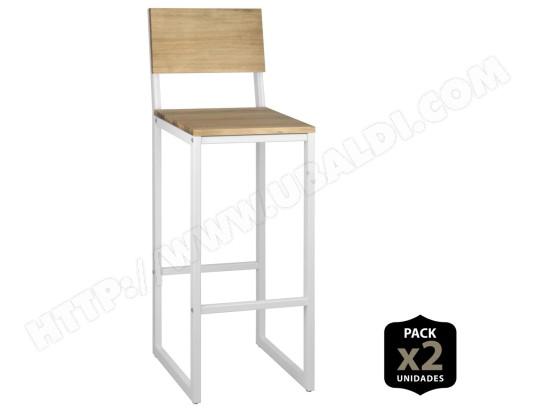 ds muebles lot de 2 tabourets de bar icub avec dossier 38x36x106cm metal blanc ma 13ca493lotd imv0y