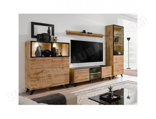 price factory ensemble meubles de salon tino compose de trois meubles et d une etagere de style industriel ma 76ca494ense 2bz7y