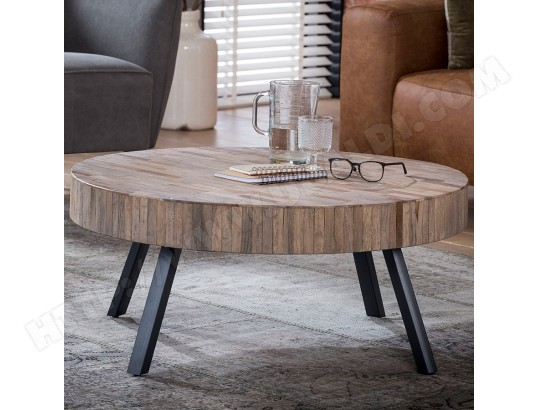 nouvomeuble table basse ronde en teck et metal nick ma 82ca182tabl 4i3wx