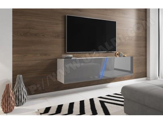 pegane meuble tv blanc mat gris brillant avec eclairage led bleue 160 x 34 x 40 cm pegane ma 82ca487meub p2tnb