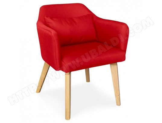 menzzo chaise fauteuil scandinave shaggy tissu rouge lsr19117redfabric