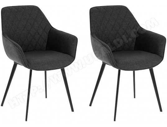 lf chaise aminy lot 2 chaises tissus gris fonce