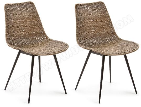lf chaise lot de 2 chaises equal metal et rotin