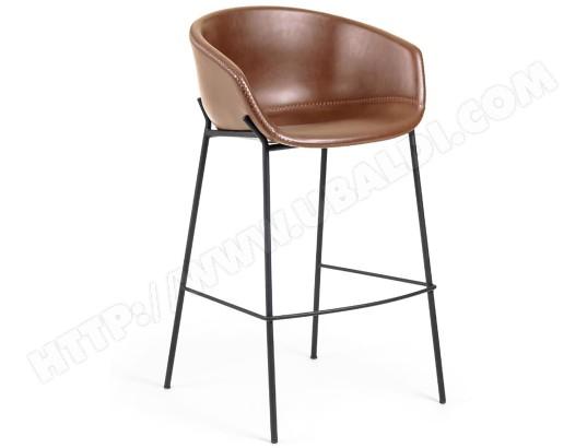 lf tabouret de bar zadine tabouret pu marron h assise 65cm