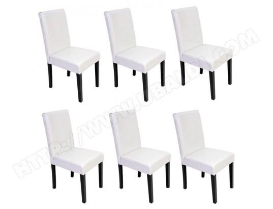 decoshop26 lot de 6 chaises de salle a manger simili cuir blanc pieds fonces cds04248 ma 14ca493lotd ehm9e