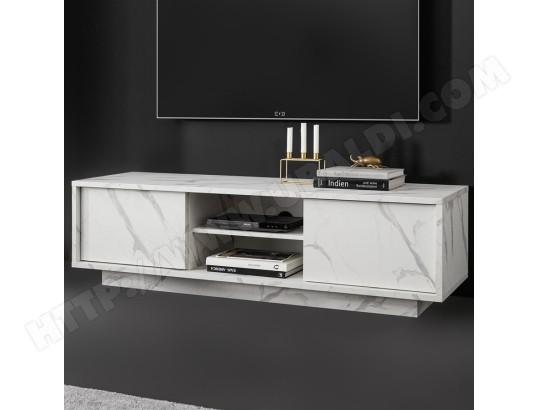 nouvomeuble meuble tele blanc design effet marbre iceland ma 82ca487meub thwst