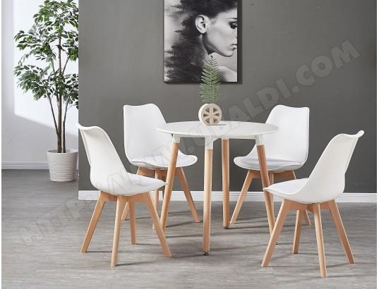 life interiors table blanche ronde 4 chaises scandinaves blanches ensemble pour salle a manger ou cuisine ma 16ca492tabl 39wck