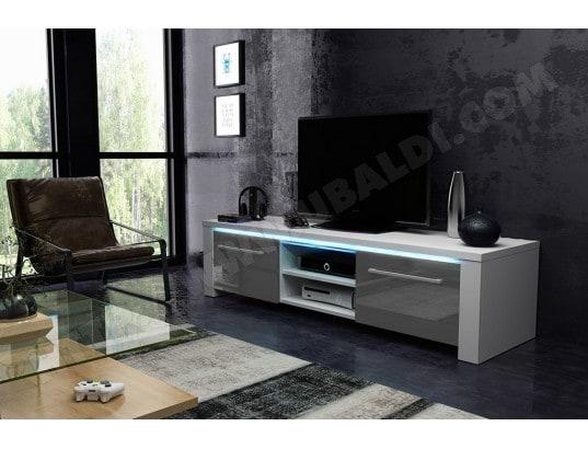 vivaldi manhattan meuble tv blanc mat avec gris brillant eclairage a la led bleue ma 54ca43 manh wodiq