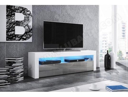 vivaldi mex meuble tv design blanc mat avec gris brillant eclairage a la led bleue ma 54ca43 mexm igjzw