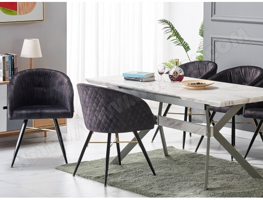 life interiors eva lot de 6 fauteuils chaises de salle a manger finition tissu velours noir pieds noirs et dores style scandinave
