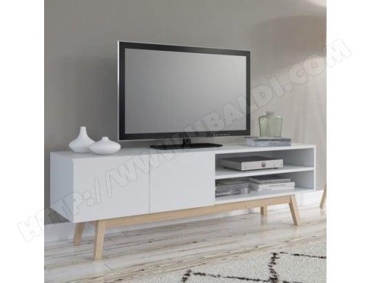 le quai des affaires meuble tv home 160 cm 2 portes 1 niche blanc ma 44ca43 meub zmqmf