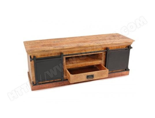 nouvomeuble meuble tv 150 cm en manguier et metal iroquois ma 82ca487meub 04sr8