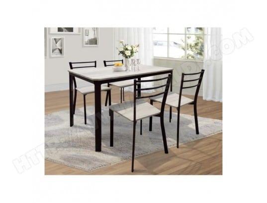 price factory table de cuisine et salle a manger 4 chaises leeds ensemble repas design metal et bois 251