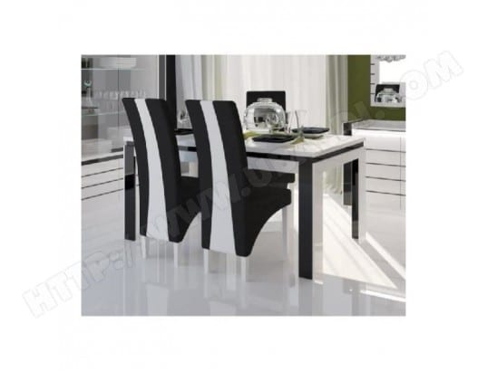 price factory table 160 cm 4 chaises lina table pour salle a manger laquee blanche et noire avec 4 chaises ma 76ca493tabl h1mhv