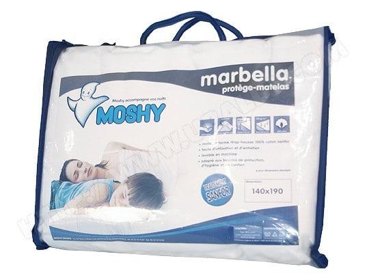 moshy protege matelas marbella 140x190cm bonnet de 30cm
