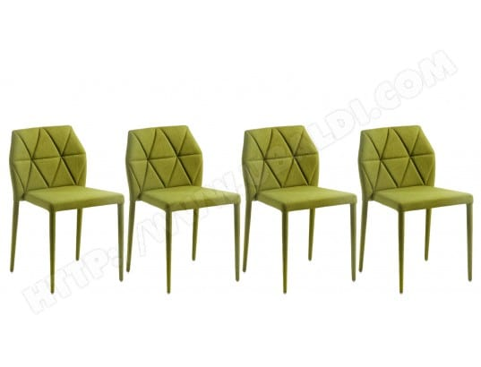 lf chaise lot de 4 chaises gravite tissu vert