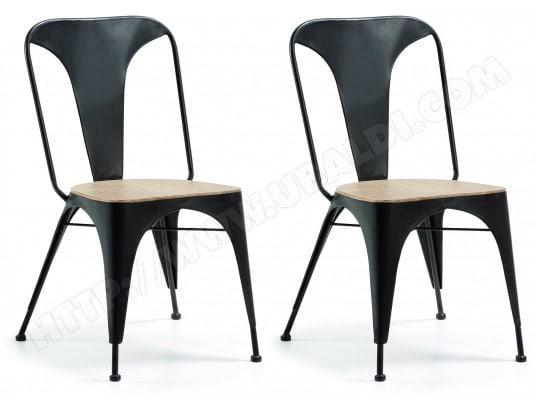 lf chaise lot de 2 chaises vita metal bois