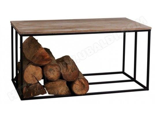 aubry gaspard table basse porte b ches en bois et m tal rondo 26319