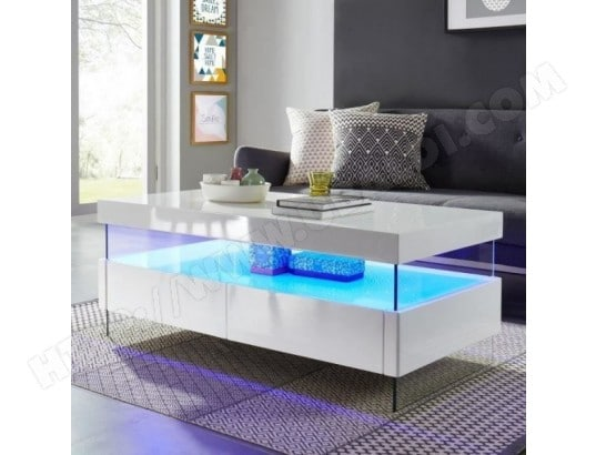 tbd sezanne table basse avec led style contemporain laque blanc brillant l 120 x l 60 cm ma 31ca182seza gdp70