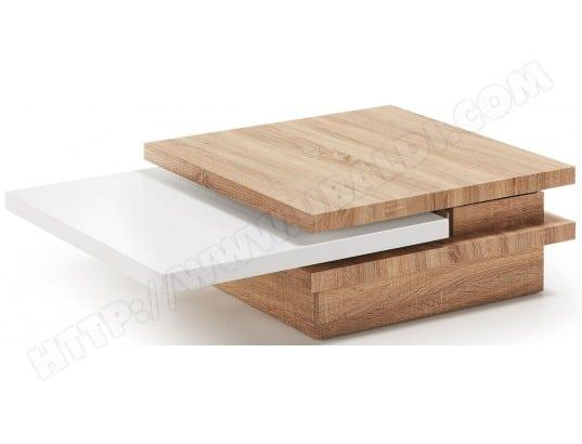 lf table basse yuki 3 plateaux amovibles chene blanc 106 x 70 cm