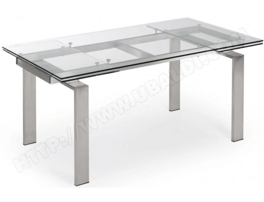 lf table de salle a manger corona 160 240 x 85 plateau verre pied metal