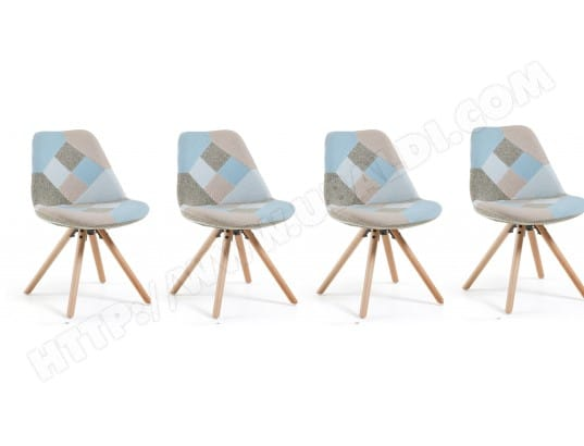 lf chaise lot de 4 chaises lars patchwork bleu