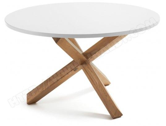 lf table de salle a manger nori diametre 120 cm plateau blanc pied bois