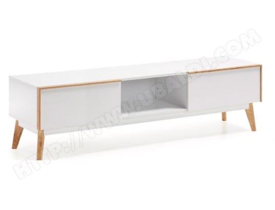 lf meuble tv meety laque blanc 150 cm