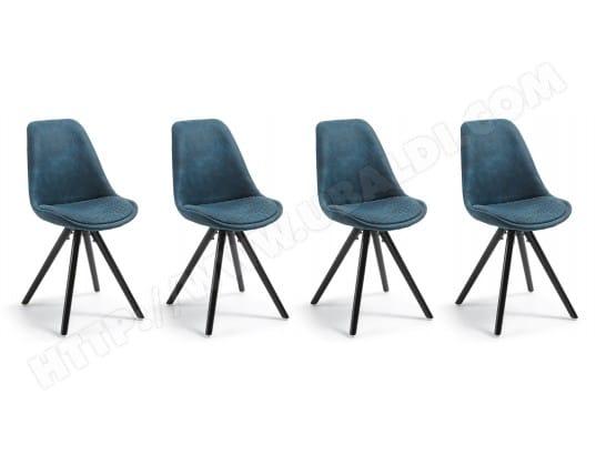 lf chaise lot de 4 chaises lars tissu bleu pied noir